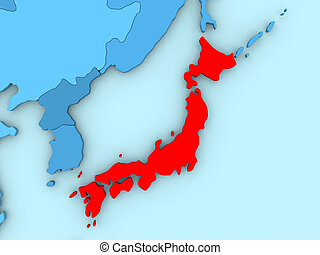 Japan on 3D map