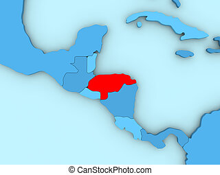 Honduras on 3D map - Country of Honduras highlighted in red...