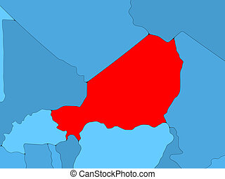 Niger on 3D map - Country of Niger highlighted in red on...