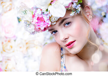 tenderness - Beautiful romantic young woman in a wreath of...