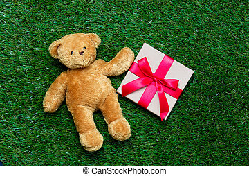 teddy bear and gift - cute teddy bear and beautiful red gift...