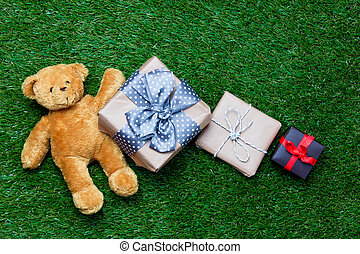 gifts and teddy bear - colorful gifts and cute teddy bear...