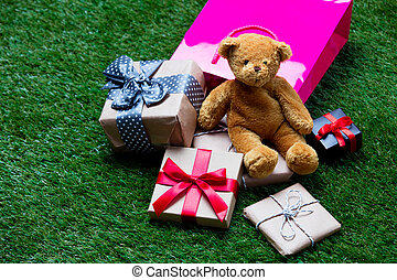 shopping bag, teddy bear and gifts - pink shopping bag, cute...