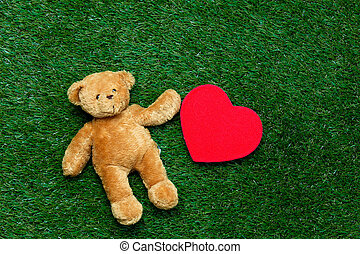 toy and teddy bear - cute teddy bear and red heart shaped...