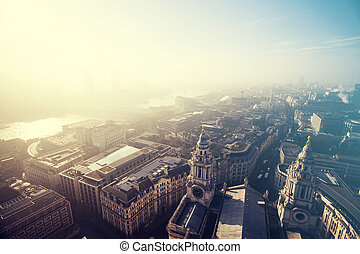 View of London, UK - Aerial London view on a foggy day from...