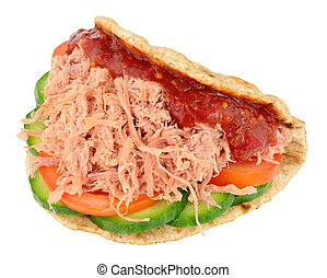 Shredded Ham Salad Sandwich In A Folded Flatbread - Shredded...