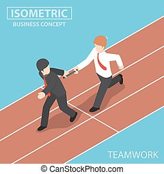 Isometric Businessman Passing Baton to His Colleague in...