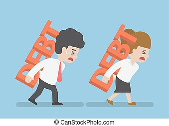 Businessman and Woman Carrying Debt on The Back, Debt...