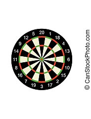 Classic darts board target isolated on white background. Vector Illustration