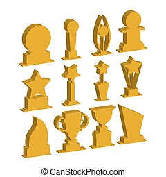 Trophies cups and challenge prizes icons gold collection...