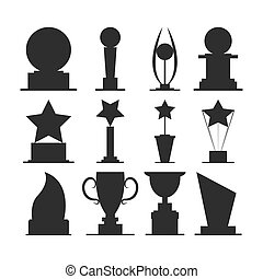 Trophies cups and challenge prizes icons collection against...