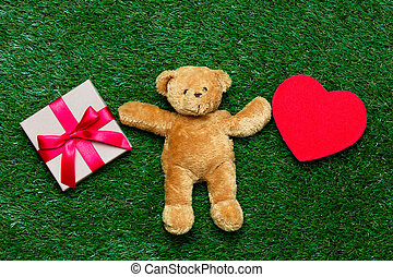 gift, toy and teddy bear - small gift, red heart shaped toy...