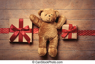 gifts, ribbon and teddy bear - beautiful gifts, ribbon and...
