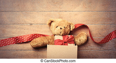 teddy bear, ribbon and gift in box - cute teddy bear, red...