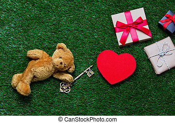 gifts, toy and teddy bear with key - cute teddy bear with...