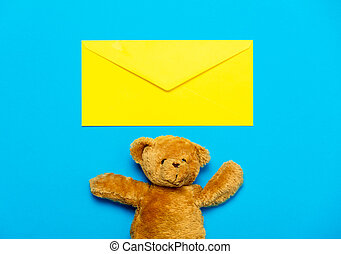 envelope and teddy bear - yellow envelope and beautiful cute...