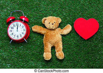 teddy bear, toy and clock - cute teddy bear and red heart...