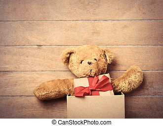 teddy bear and gift in box - cute teddy bear and small gift...