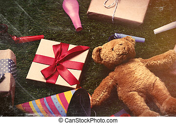 party decorations, teddy bear and gifts - colorful gifts,...