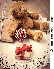 gifts, ball and teddy bear - beautiful gifts, knitted ball...