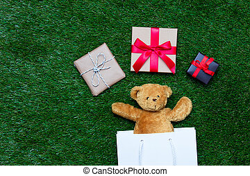 shopping bag, teddy bear and gifts - white shopping bag,...