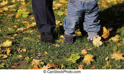 first steps of baby boy in autumn park - dad and son in...