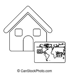 monochrome contour house with frame map of the world