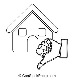 monochrome contour with house and hand thumb down vector...