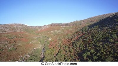 Aerial, Flying In The Mountainous Landscape Of Parque...