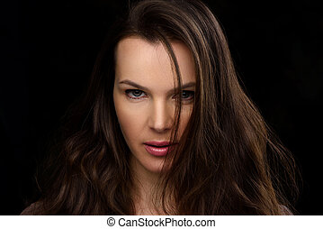 Beauty Woman Face close up. Portrait of Beautiful Young...
