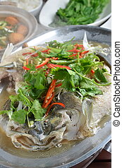 Steamed sea bass with red chilli.parsley