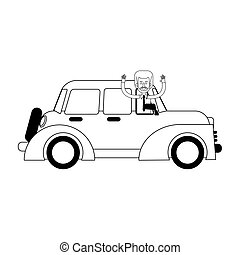 classic car icon over white background. vector illustration