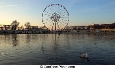 The ferris wheel in Paris, France - The ferris wheel on...