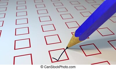 Pencil ticking boxes survey vote exam loop