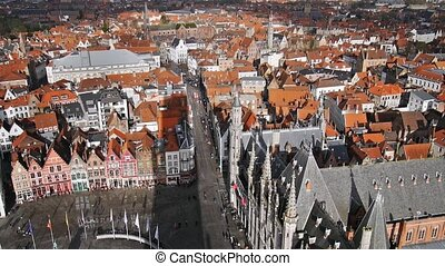 Top view of the city of Bruges, Belgium