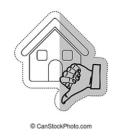 sticker monochrome contour with house and hand thumb down...
