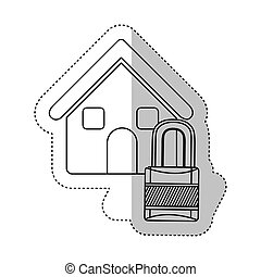 sticker monochrome contour house with padlock