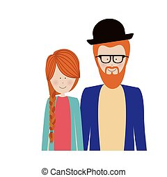 color silhouette half body with couple redhead and man with beard and glasses and hat