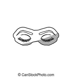 sticker contour woman with closed eyes vector illustration