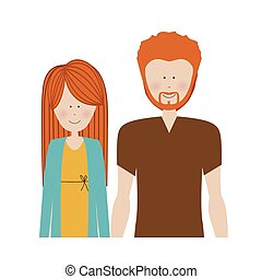 color silhouette half body with couple redhead and man with beard