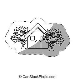 sticker monochrome contour house with trees