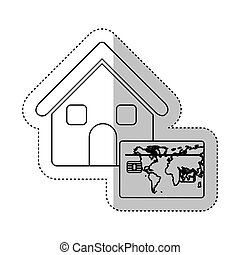 sticker monochrome contour house with frame map of the world