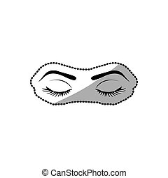 sticker silhouette woman with closed eyes vector...