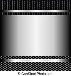 metallic grill background with plate and screws
