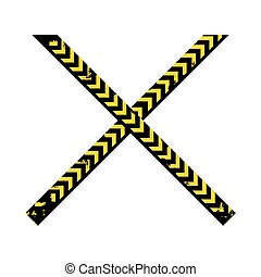 color silhouette with police line tape crossed vector...