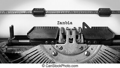 Old typewriter - Zambia - Inscription made by vintage...