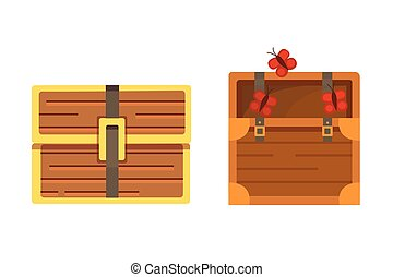 Cute set of diferent chests. Cartoon illustration chest....