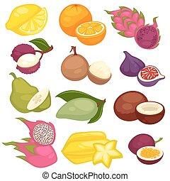 Tropical fruits set. Lemon, orange, pitaya, carambola,...