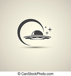 Ufo flying saucer vector icon