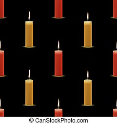 Yellow Red Wax Burning Candles Seamless Pattern